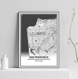 Affiche Carte Ville <Br /> San Francisco 1700