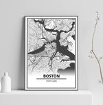 Affiche Carte Ville <Br /> Boston 1700