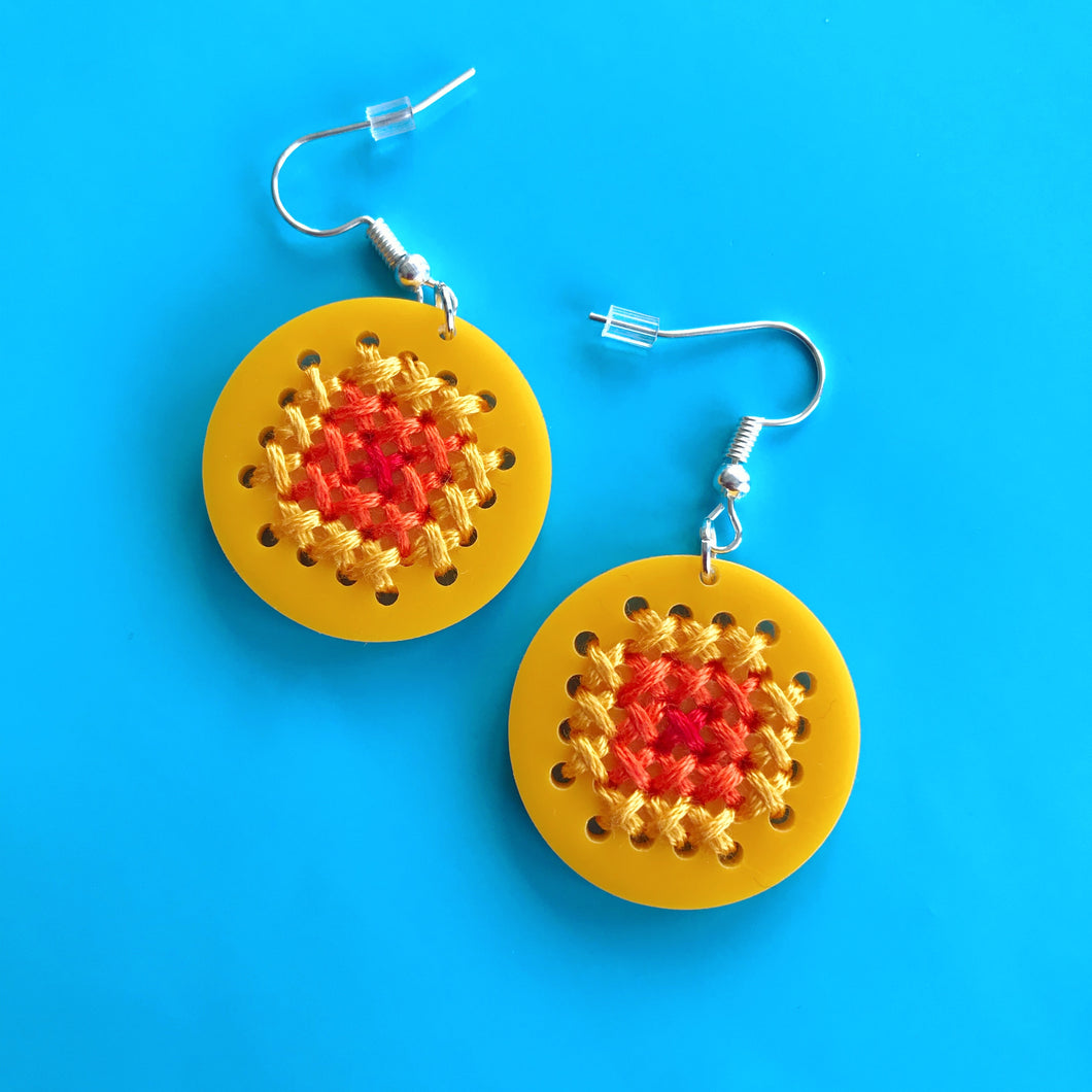 SewYO Cross Stitched Circle Earrings
