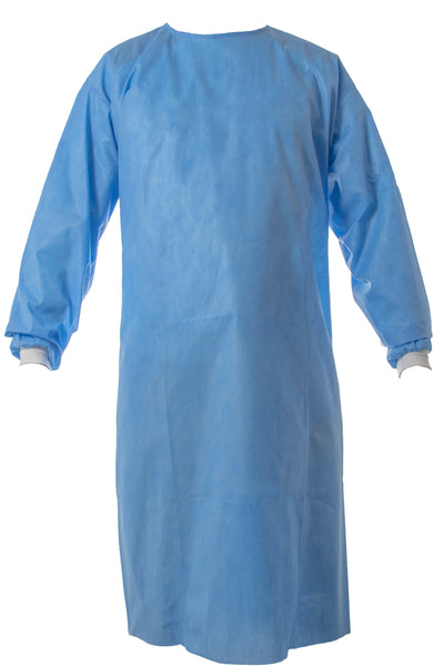 Blue AAMI Level 2 premium disposable isolation gown  front view