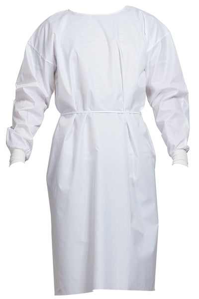 White AAMI Level 3 fully laminated premium disposable isolation gown front view