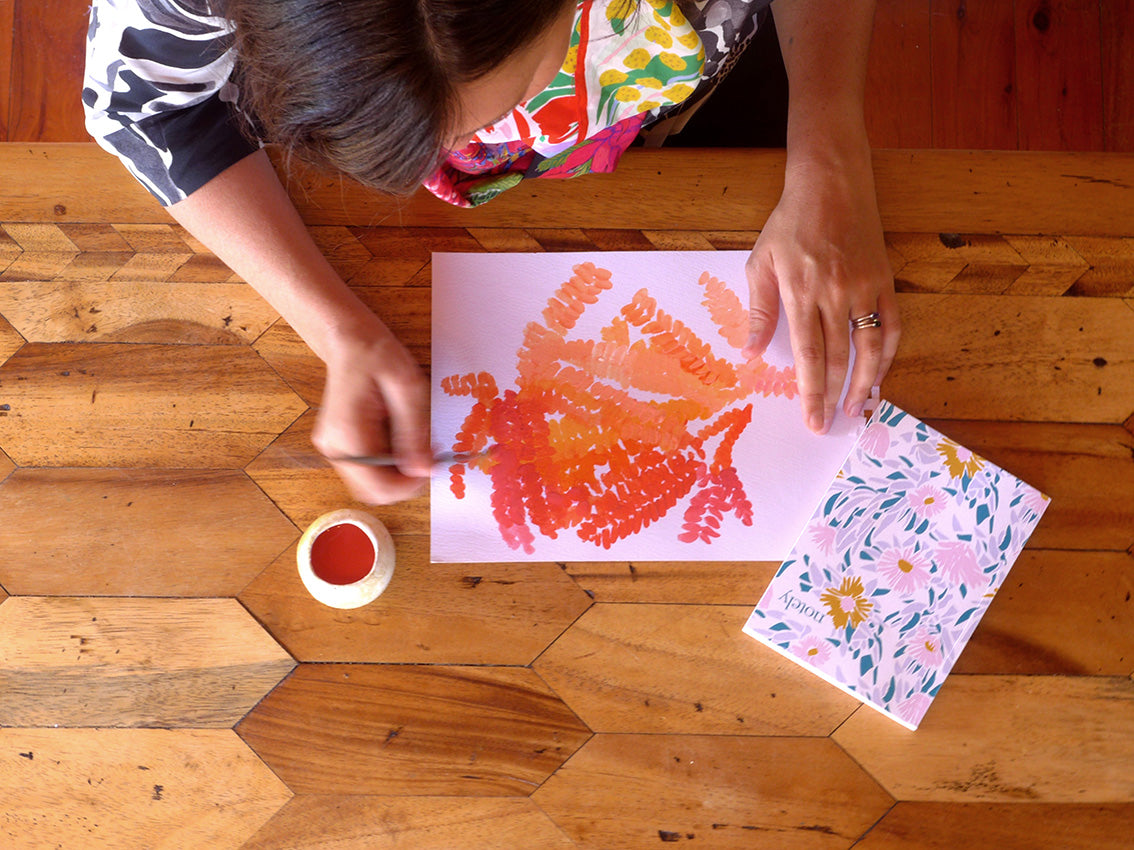 Marni Stuart textile designer painting at home