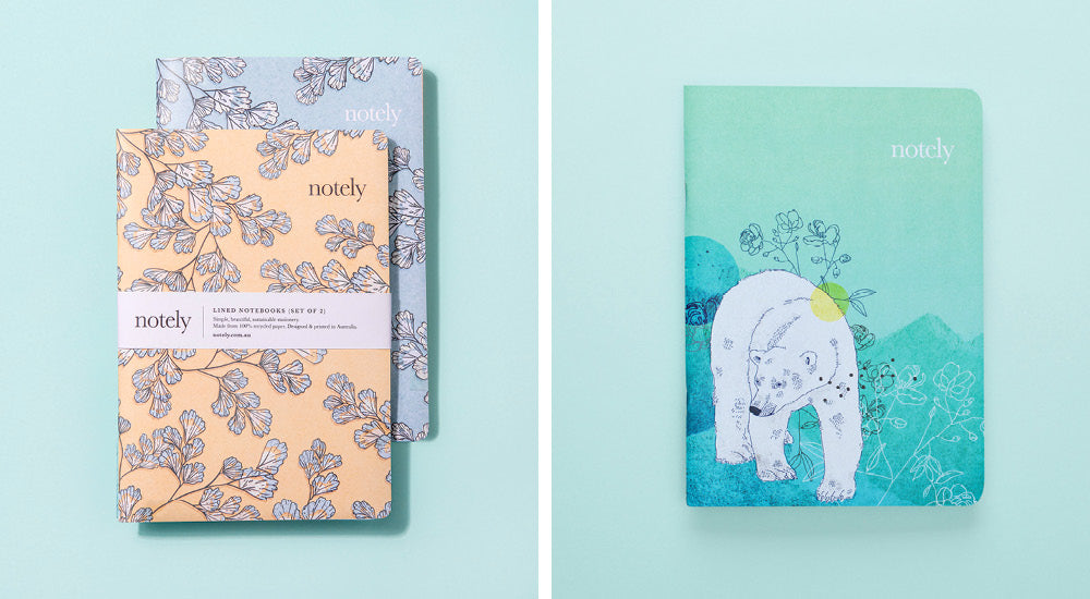 Notely notebook designs by Brisbane illustrator Tiffany Atkin