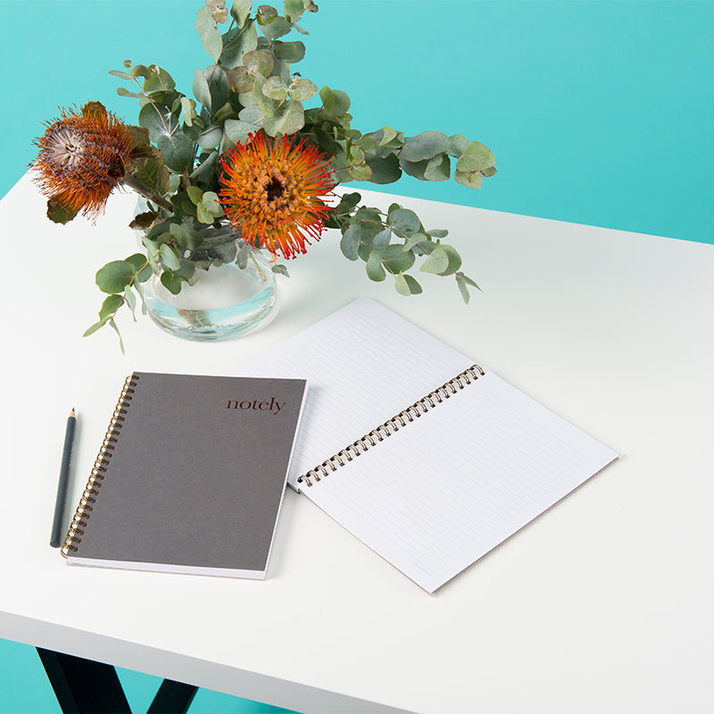 Notely Spiral Notebooks in A5 on office desk