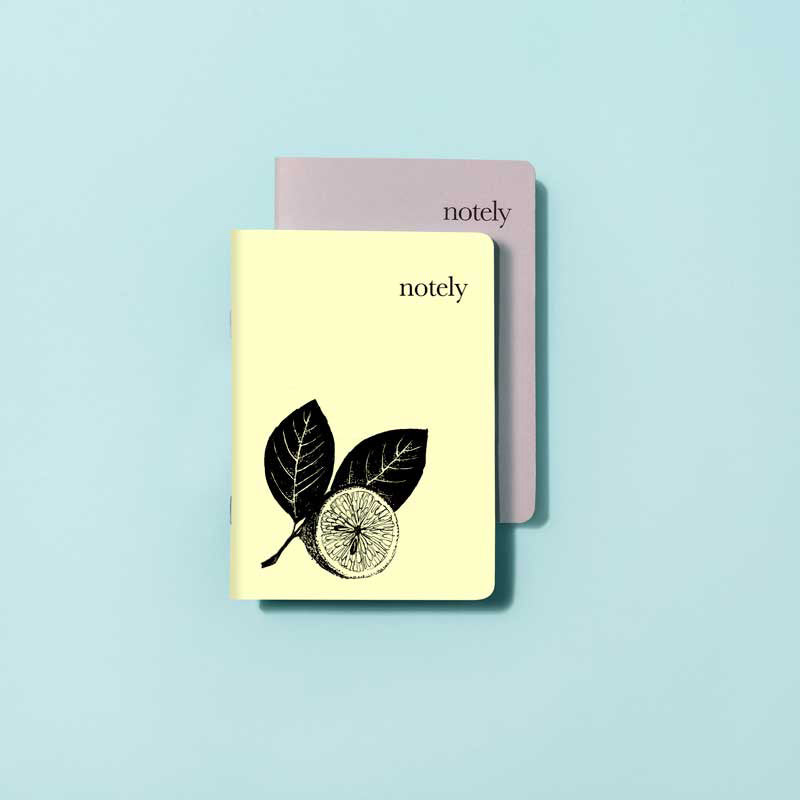 Illustrated Lemon & Grey - A6 Pocket Notebook (Set of 2)