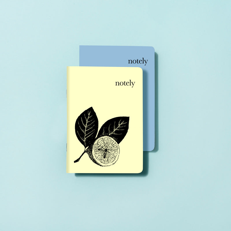 Illustrated Lemon & Byron Blue - A6 Pocket Notebook (Set of 2)