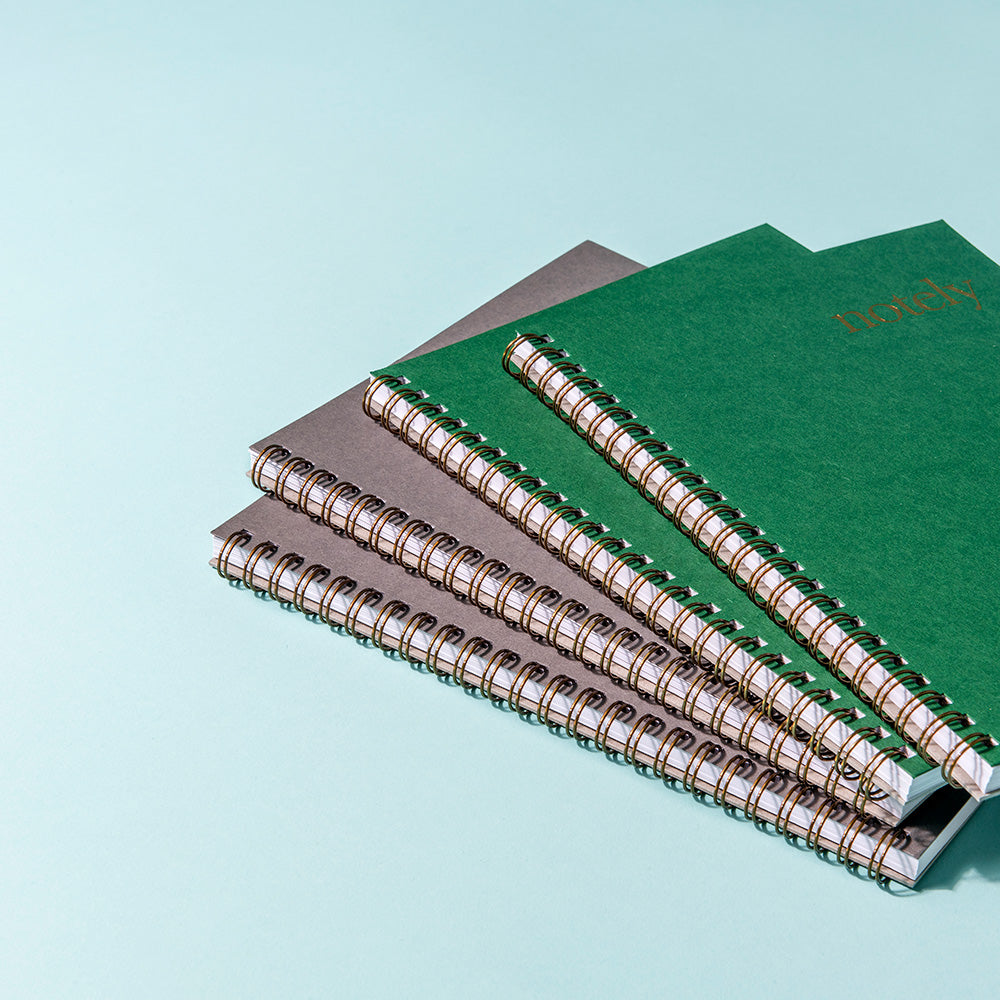 Notely A5 Green and Charcoal Grey Spiral Notebooks