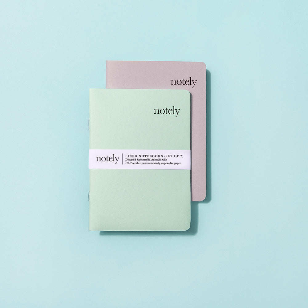 Spearmint & Grey - A6 Pocket Notebook (Set of 2)