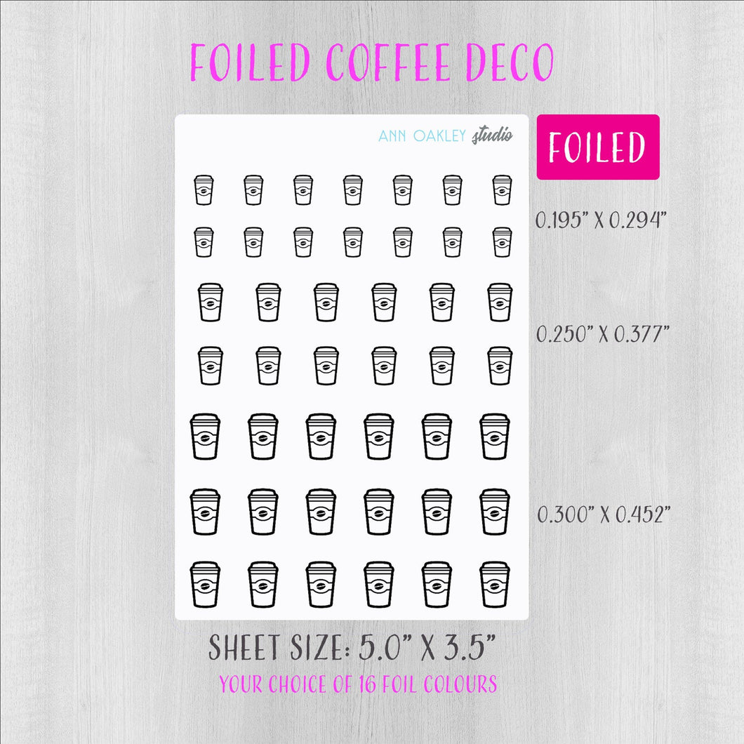 Foiled Coffee Deco Planner Stickers