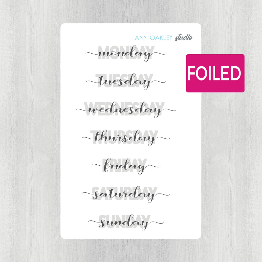 Foiled Daily Header Planner Stickers