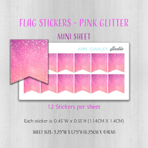 Flag Planner Stickers in Pink Glitter | Full and Mini Sheet Options