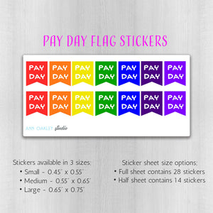 Pay Day Flags Functional Planner Stickers Rainbow