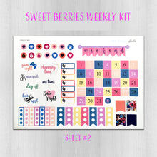 Load image into Gallery viewer, Sweet Berries Navy and Purple Weekly Planner Sticker Kit