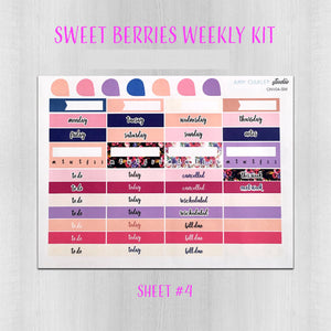 Sweet Berries Navy and Purple Weekly Planner Sticker Kit