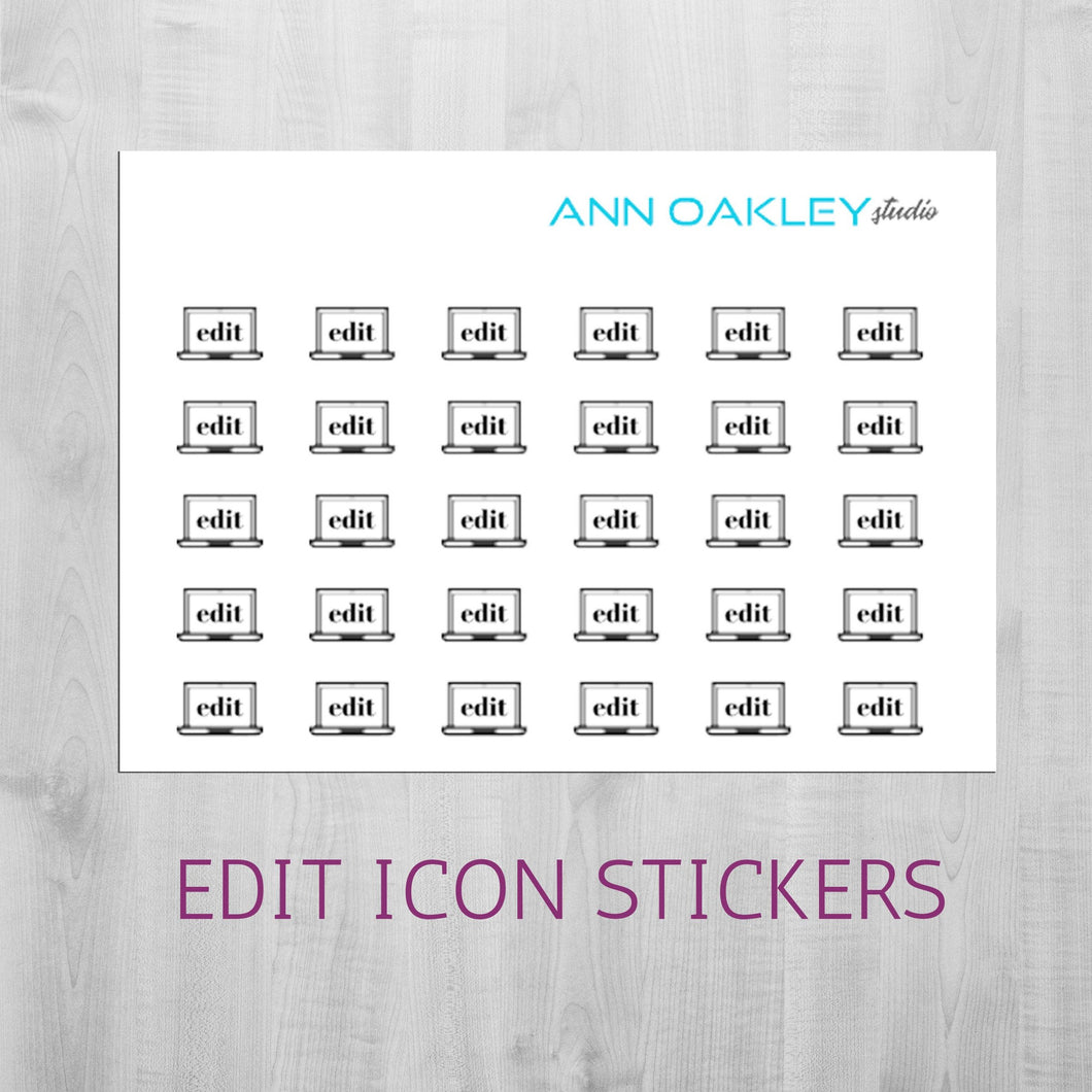 Foiled Edit Icon Planner Stickers