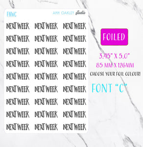 Foiled Next Week Script Planner Stickers