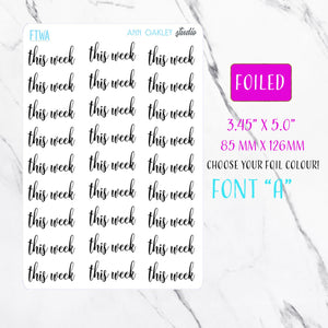 Foiled This Week Planner Stickers | Foil Planner Stickers