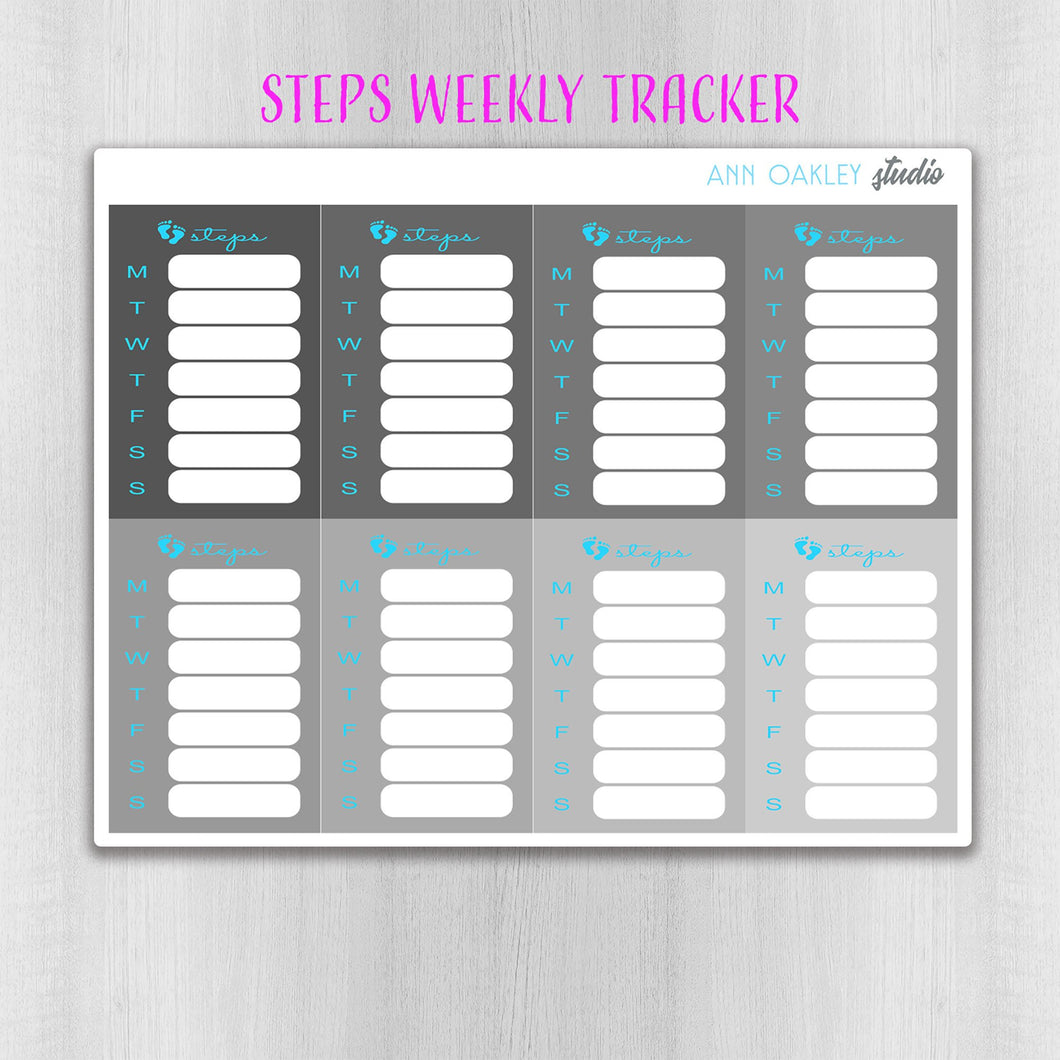 Grayscale Stacked Steps Tracker Planner Stickers