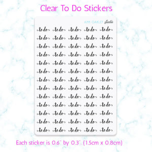 To Do Script Planner Stickers (Clear)