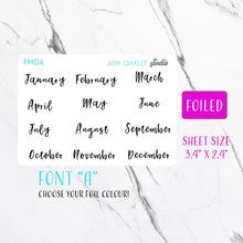 Load image into Gallery viewer, Foiled Months Script Planner Stickers