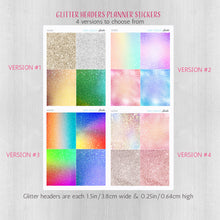 Load image into Gallery viewer, Glitter Washi Headers Planner Stickers