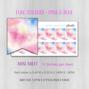 Flag Planner Stickers in Pink and Blue Watercolor | Available in Full and Mini Sheet Options
