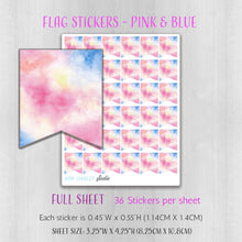 Load image into Gallery viewer, Flag Planner Stickers in Pink and Blue Watercolor | Available in Full and Mini Sheet Options