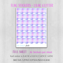 Load image into Gallery viewer, Flag Planner Stickers in Lilac Glitter