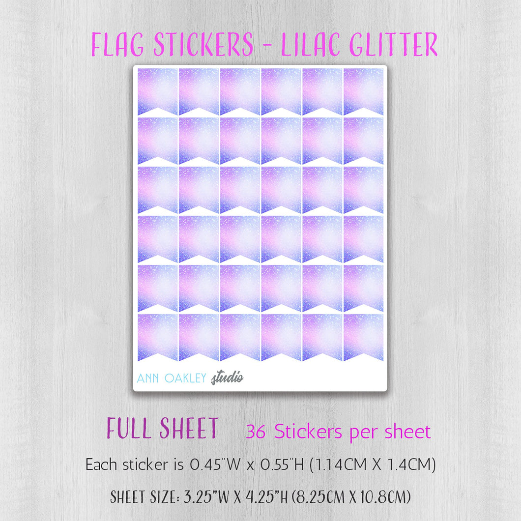 Flag Planner Stickers in Lilac Glitter