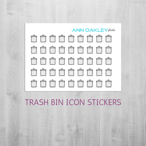 Foiled Trash Bin Icon Planner Stickers | Garbage Can Foil Stickers