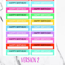 Load image into Gallery viewer, Happy Birthday Planner Stickers