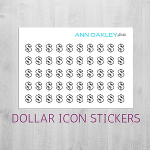 Foiled Money Sign Icon Planner Stickers