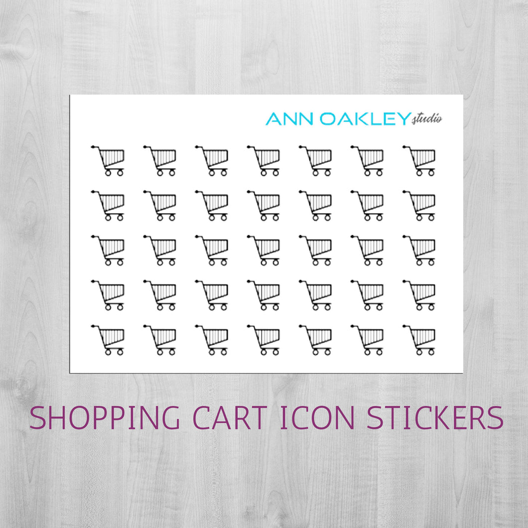 Foiled Shopping Cart Icon Planner Stickers