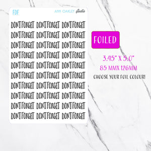 Foiled Don't Forget Planner Stickers
