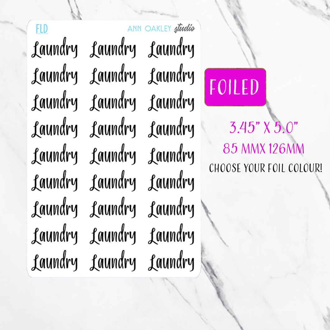 Foiled Laundry Script Planner Stickers