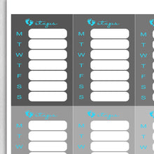 Load image into Gallery viewer, Grayscale Stacked Steps Tracker Planner Stickers