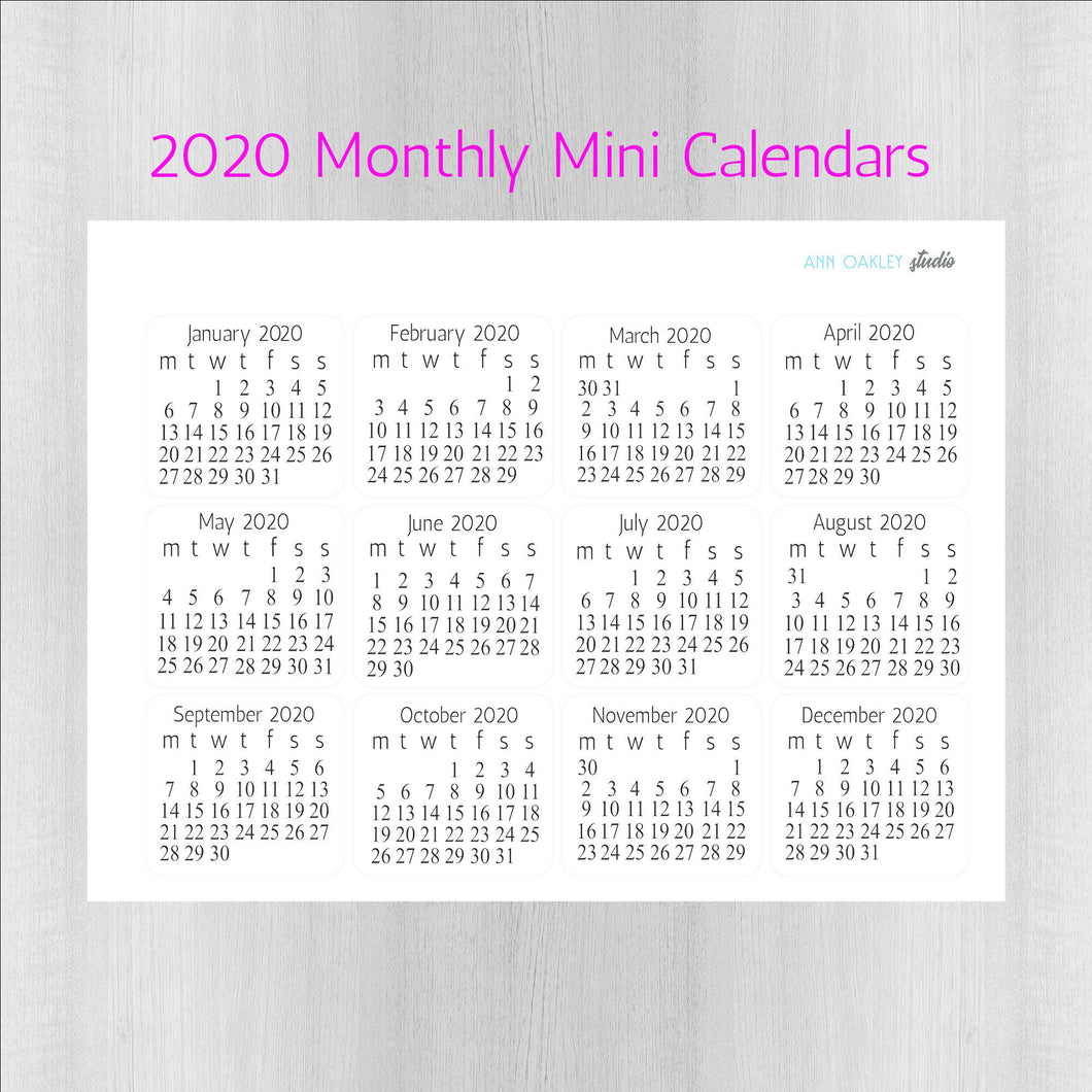 Monthly Calendar Planner Stickers