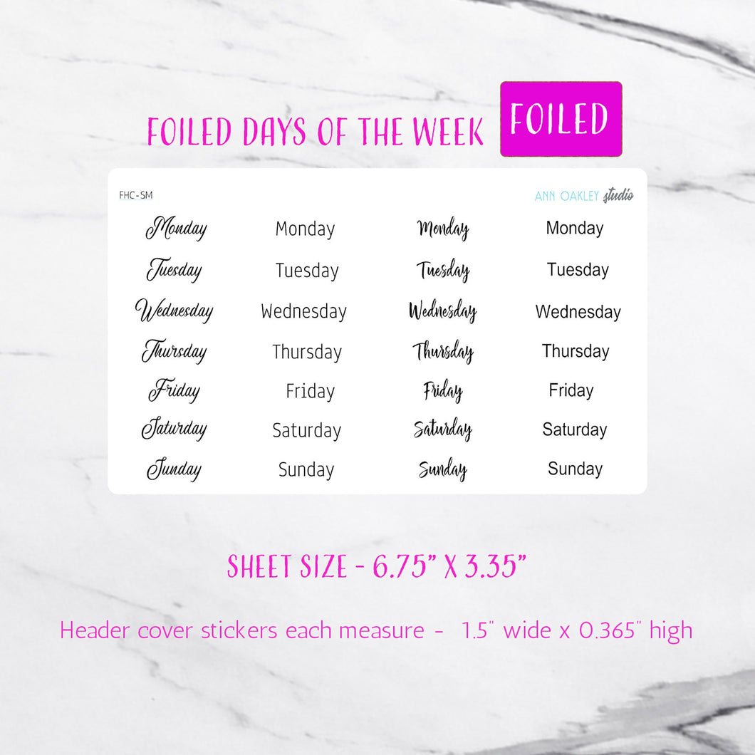 Foiled Days of the Week Headers Planner Stickers
