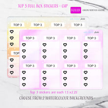 Load image into Gallery viewer, Foiled Top 3 Full Box Checklist Planner Stickers