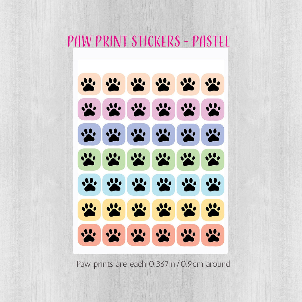 Pastel Paw Prints Planner Stickers