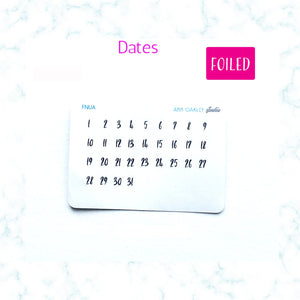 Foiled Dates Numbers 1 - 31 Planner Stickers