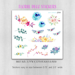 Floral Watercolor Deco Planner Stickers