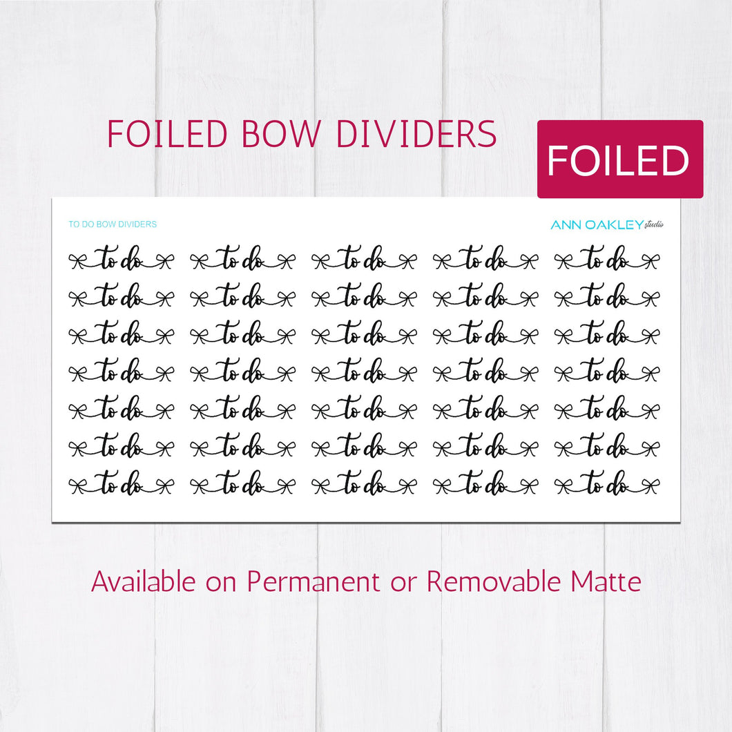 Foiled To Do Bow Divider Planner Stickers