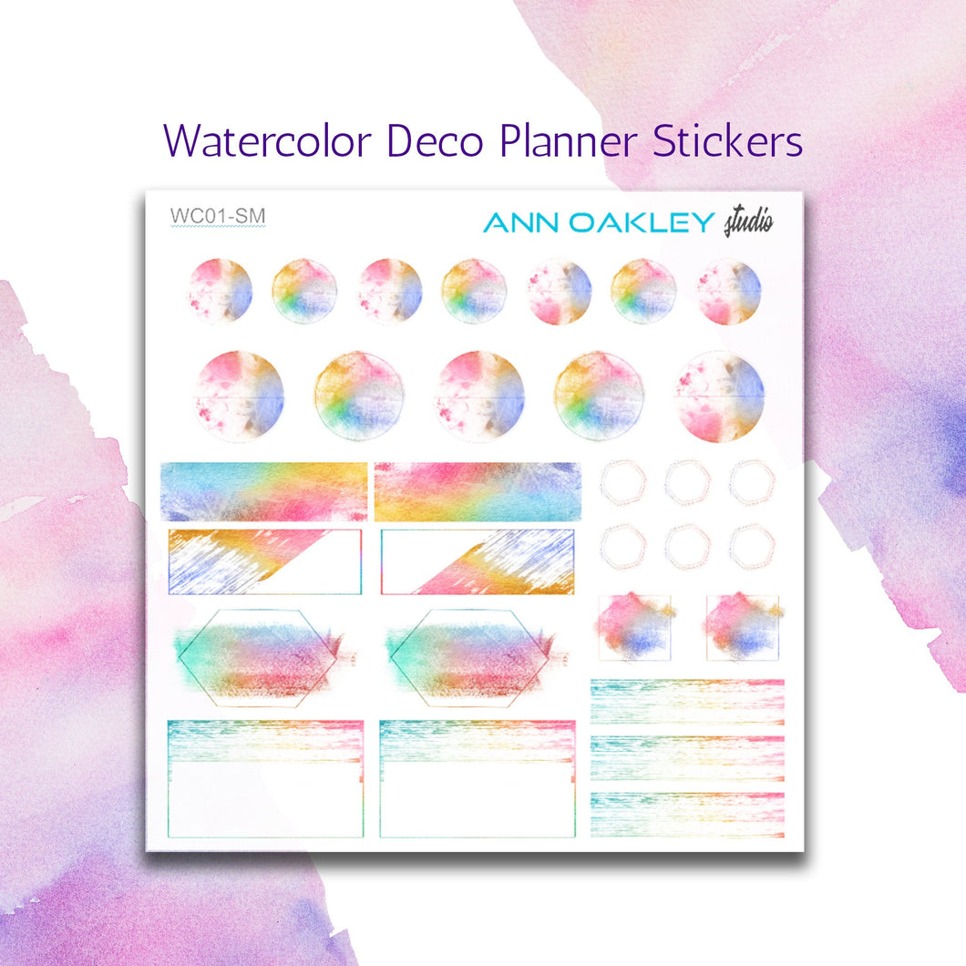 Watercolor Deco Planner Stickers sized for 1.5