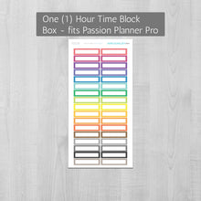 Load image into Gallery viewer, Hourly Time Block Quarter Box Planner Stickers sized for the Passion Planner Pro