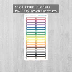 Hourly Time Block Quarter Box Planner Stickers sized for the Passion Planner Pro