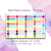 Load image into Gallery viewer, Quarter Box Planner Stickers - Pill Shape | Sized for the Happy Planner and Life Planner