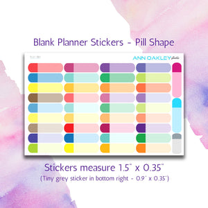 Quarter Box Planner Stickers - Pill Shape | Sized for the Happy Planner and Life Planner