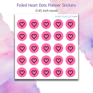 Foiled Heart Icon Planner Stickers on Pink Background