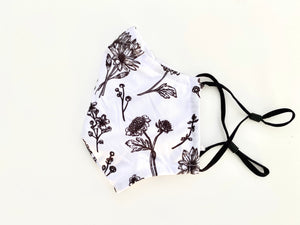 Black and White Flower Mask